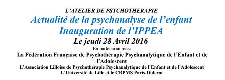 Actualité de la psychanalyse de l'enfant LILLE.