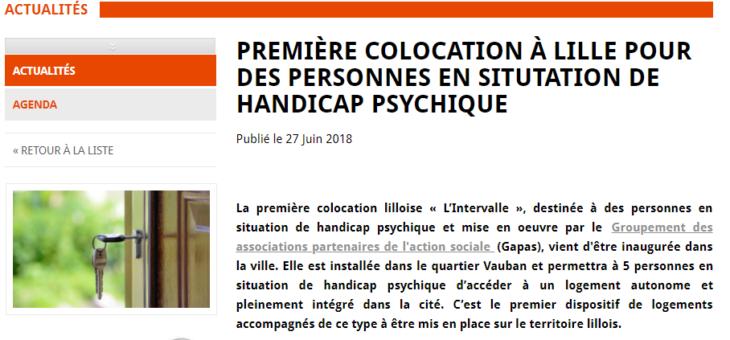Handicap psychique et colocation à Lille.