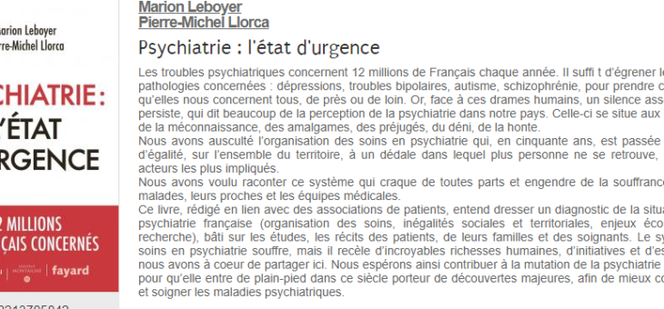 Psychiatrie : l'état d'urgence.